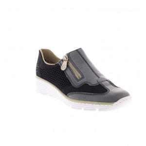 Rieker 587F8-12 Black Navy Slip On Shoes