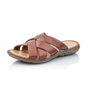 Rieker 22098-24 Mens Wide Brown Leather Sandals