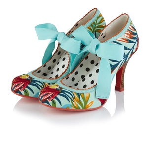 Ruby Shoo Willow Ladies Aqua Tropical Floral High Heel Shoes