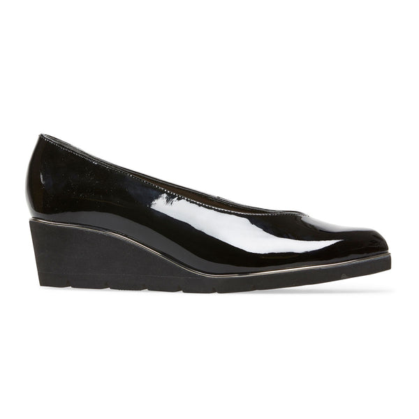 Van Dal Ariah X Black Patent Leather Wedge Shoes EE