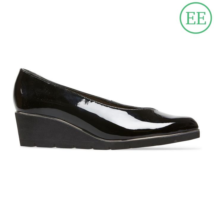 9d93458e91 Van Dal Ariah X Black Patent Leather Wedge Shoes EE
