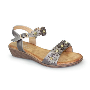 Lunar JLH 088 Agnes Pewter Small Wedge Ladies Sandal - elevate your sole