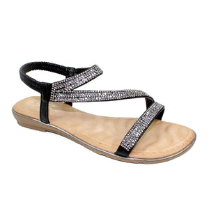 Lunar JLH 079 Blaise Black Glitz Ladies Flat Sandals - elevate your sole