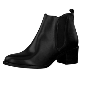 Tamaris 25043-23 Black Leather Heeled Ankle Chelsea Boots