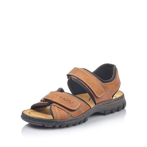 Rieker 25051-25 Mens Brown Walking Sandal with Touch Fastening