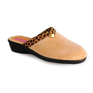 Lunar Michelle KLA007 Ladies Ocelot Camel Wedge Mule Slippers