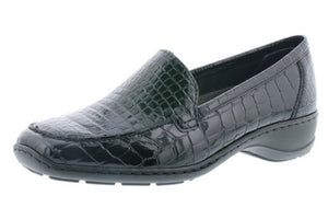 Rieker 583A0-00 Black Patent Croc Print Slip On Loafer Shoes - elevate your sole