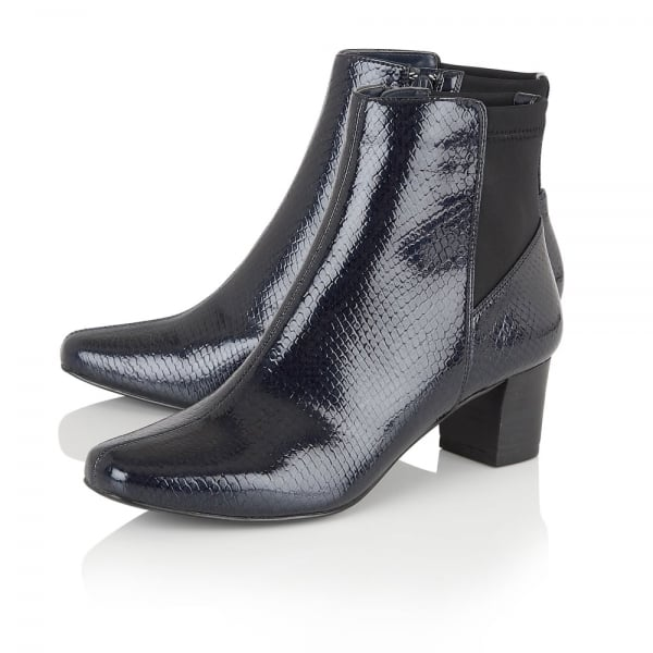 Lotus Swallow Navy Shiny Snake Heeled Boots - elevate your sole