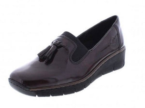 Rieker 53751-35 Burgundy Patent Slip on Shoe - elevate your sole