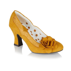 Ruby Shoo Chrissie Ladies Ochre Yellow Floral Vegan Court Shoes
