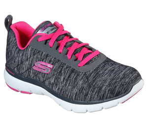 Skechers 13067 Flex Appeal 3.0 Insiders Black/Hot Pink Lace Up Trainers - elevate your sole
