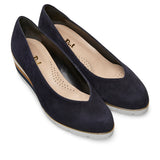 Van Dal Ariah Ladies Midnight Navy Suede Court Shoe Wedges