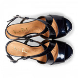 Van Dal Allora Midnight Navy Leather Wedge Sandals - elevate your sole