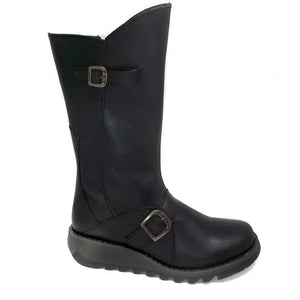 Fly London Mes 2 Rug Black Mid Calf Leather Chunky Boots