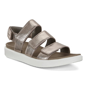 Ecco 273633 Warm Grey Metallic Leather Hook and Loop Strap Sandals