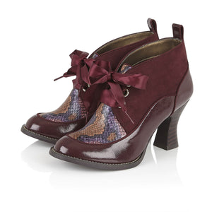 Ruby Shoo Emma Ladies Burgundy Print Lace Up Shoe Boots