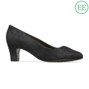 Van Dal Plaza Black Beetle Prt Leather Court Shoes EE