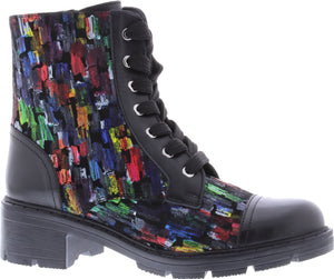 Adesso A5568 Lydia Ladies Black Multi Leather Lace Up Combat Boots