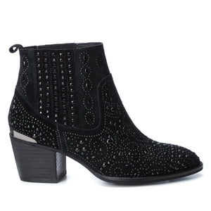 Carmela 66832 Black Suede Diamante Heeled Ankle Boots - elevate your sole