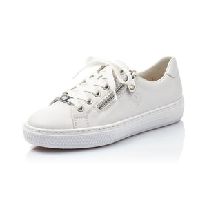 Rieker L59L1-80 White Leather Lace Zip Up Trainers