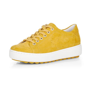 Remonte D1004-68 Ladies Yellow Suede Lace up Shoes