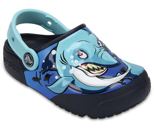 Crocs Fun Lab Lights Kids Shark Navy Roomy Fit Clogs