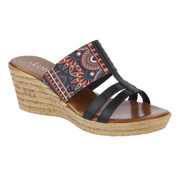 Size 7 Only - Lotus Ludovica Black Multi Wedge Sandals