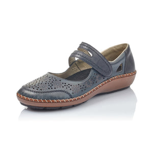 Rieker 44875-14 Ladies Ocean Navy Leather Touch Fastening Shoes