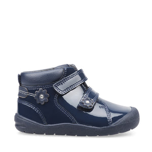 Start-Rite Dream 0764_9 Girls Navy Patent Touch Fastening Boot