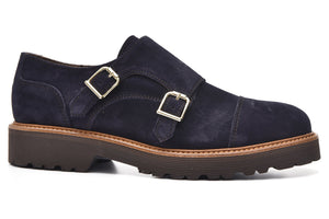 Alpe 30351128 Double Monk Strap Navy Suede Shoes - elevate your sole