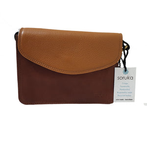 Soruka 047272 Brown Burnt Orange Leather Shoulder Bag