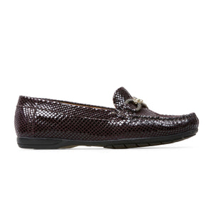 Van Dal Bliss II 3300 Ladies 5305 Bordo Feature Leather Python Print Loafers E