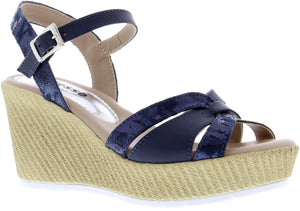 Adesso A5253 Sinead Ladies Navy Leather Wedge Sandal