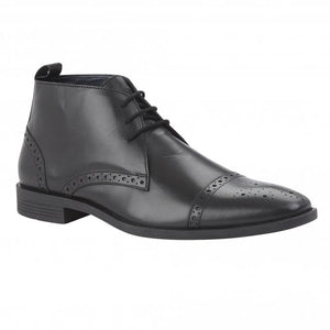Lotus Bradley Mens Black Leather Lace Up Brogue Ankle Boot - elevate your sole