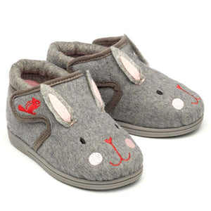 Chipmunk Katie Childrens Grey Bunny Slippers