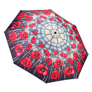 Galleria 33015 Stained Glass Poppies Folding Umbrella