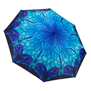 Galleria 33016 Stained Glass Blue Folding Umbrella