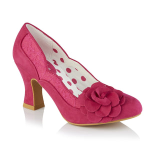 Ruby Shoo Chrissie Ladies Fuchsia Pink Floral Vegan Court Shoes
