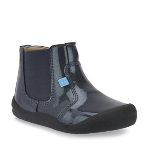 Start-Rite First Chelsea 0745-2 Girls Gunmetal Patent Chelsea Boots F Fit - elevate your sole