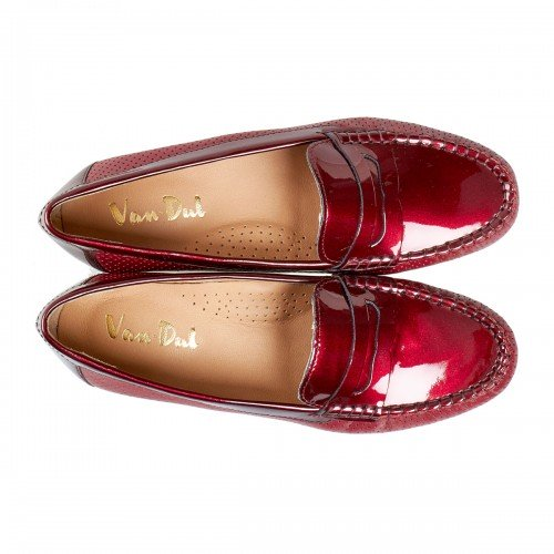 Van Dal Sheldon Mulberry Red Patent Leather Loafer Shoes