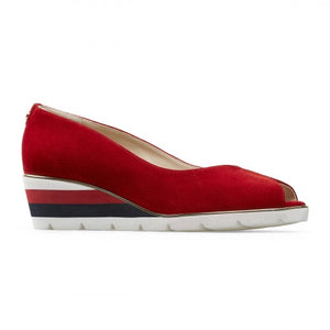 Van Dal Cobham 3109 Ladies 5002 Poppy Red Suede Open Toe Wedges