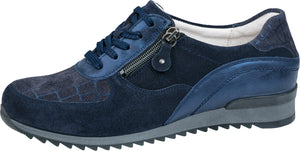 Waldlaufer 370013 718 302 Hurly Ladies Velour Vici Foil Deep Blue Marine Lace Up Shoe