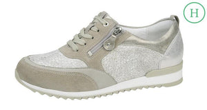 Waldlaufer 370018 500 538 Hurly trainer in taupe/cappucino nubuck and patterned leather - elevate your sole