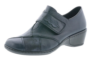 Rieker 47152-14 Navy Leather Hook and Loop Shoes