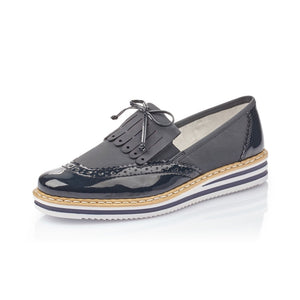 Rieker N0273-14 Navy Slip On Brogue Loafer Shoes