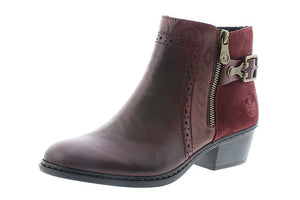 Rieker 75585-30 Ladies Red Leather Ankle Boots