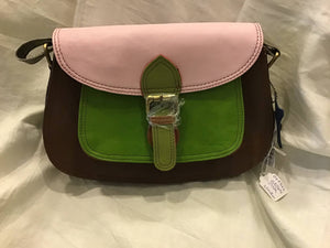 Soruka 047362 Brown Pink Combi Leather Shoulder Bag