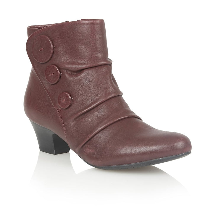 Size 3 Only - Lotus Brisk Bordeaux Leather Ladies Ankle Boots