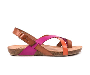 Yokono Ibiza 718 Ladies Brown Pink Multi  Leather Flat Sandals