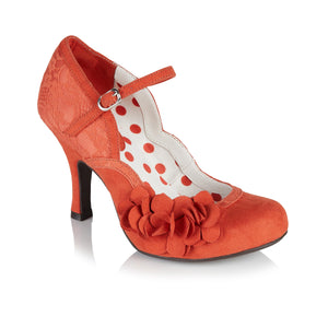 Ruby Shoo Raina Ladies Russett Orange Floral Heels Court Shoes